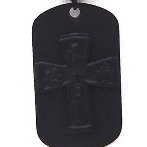 FLAT BLACK CROSS DOG TAG WITH CHAIN SHOWS
